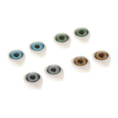 8pcs Oval Flat Back Glass Eyes 9mm for BJD Doll DIY Mask Making Accs 16x12mm