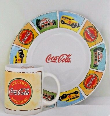 """9"""" Coca Cola Plate Coffee 3.75"""" Tall Ceramic Mug Gibson Shack Cup Truck Ice Cold"""
