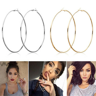 LARGE METAL THIN HOOPS EARRINGS SILVER OR GOLD HOT 10CM/9CM FASHION UK Fashion