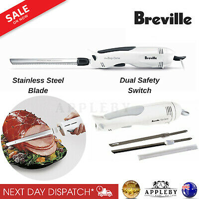 Breville Electric Knife Meat Roast Carving Bread 2x Stainless Steel Blades New