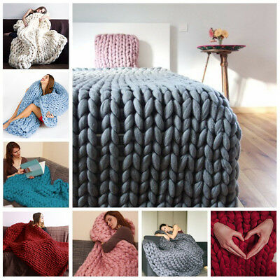 Soft Comfy Solid Hand Chunky Knit Blanket Thick Yarn Wool Bulky Bed Spread Throw