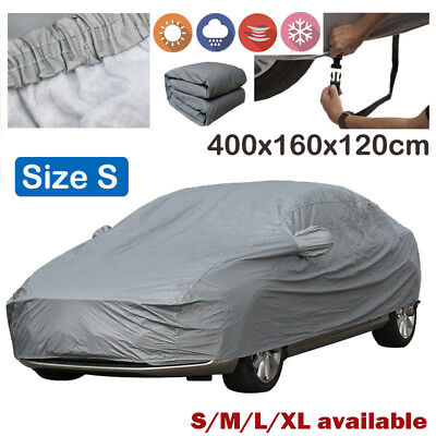 DOUBLE Layers Heavy Duty Waterproof Car Cover Cotton Lining UV Protector Size S