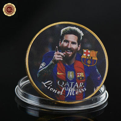 WR Lionel Messi Barcelona Color Gold Coin Medal Football Memorabilia Great Gifts