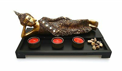 Wooden Tea Light Candle Holders with Decorative Stones, 1 BUDDHA & 3 Wax Candles