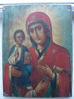 "Antique 19c Russian Orthodox Hand Painted Wood Icon ""Three-Handed Mother of God"""