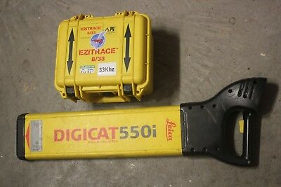 Leica digicat 550i with ezitrace 8/33 transmitter box with cables cable locator