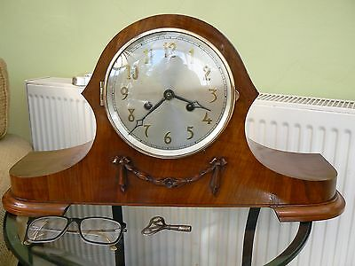 VERY LARGE DECO GERMAN 1930's HERMLE MANTLE CLOCK