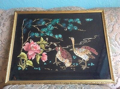 Antique Silk Oriental Tapestry Birds In  A Fabulous Gold Vintage Glass Frame