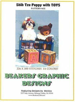 SHIH TZU PUPPY with Toys! Counted Cross Stitch detailed #0632