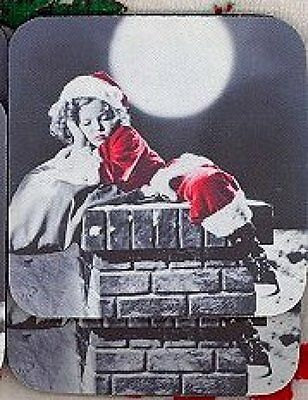 SHIRLEY TEMPLE Christmas Rubber Backed Coasters #0503