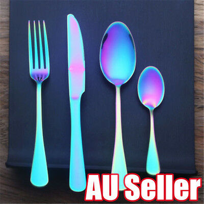 4PCS Neochrome Rainbow Cutlery Set Knife Fork Spoon Unicorn Party Tableware BO
