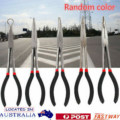 5 Pcs 11'' Long Reach Nose Pliers Set Straight Bent Tip Mechanics Hose Gripper