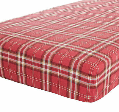 Canterbury, Red Check Single Fitted Sheet - 100% Brushed Cotton