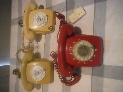 VINTAGE RETRO PHONES X 3 ,,red,cream and green ,,CAN POST