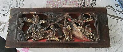 antique Oriental/Chinese   hand carved  relief in wood