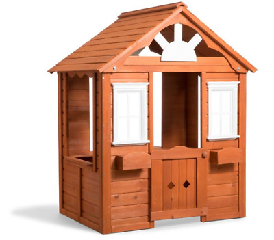 Wooden Big Realistic Cubby Wooden Play House for Backyard Playground NEW
