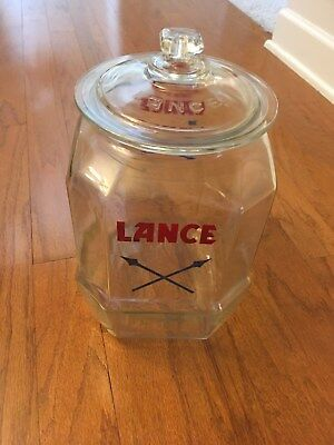Antique Lance Cracker Cookie Store Counter Display Advertising Glass Jar!