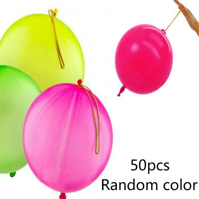 50X Latex Punch Elastic Rope Balloons Child Party Birthday Loot Bags Fillers Toy