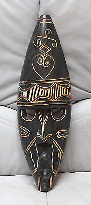 Authentic African Carved Wood Tribal Mask from Ghana