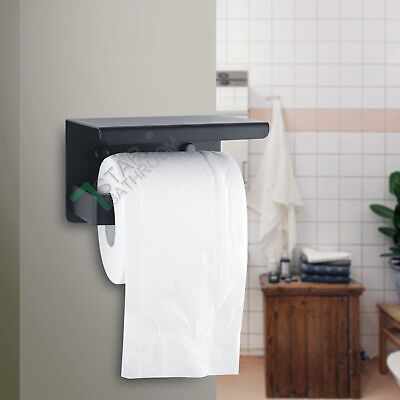 Toilet Paper Roll Holder Stainless Steel With Shelf Cover Wall Black Ring NEW