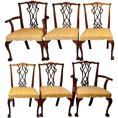 6 Six Solid Mahogany Chippendale Ball Claw, Carved Dining Room Chairs, Antique