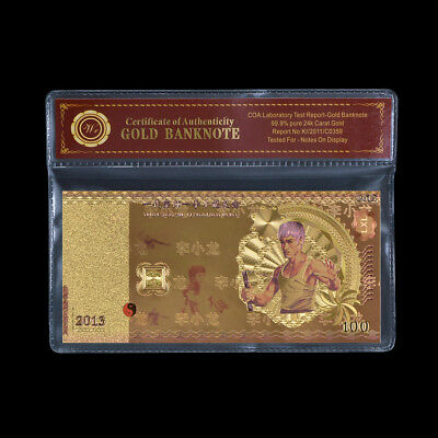 WR 2013 Bruce Lee 40th Anniversary 24k Gold Foil Banknote Kung Fu Hero Collector