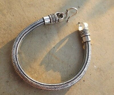 Silver plated oxidised Indian snake chain bracelet bangle 20 cm long 6 mm diam