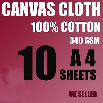 10 A4 Canvas Cotton Sheets 340 Gsm For Artist, Painting, Inkjet White ,not Paper