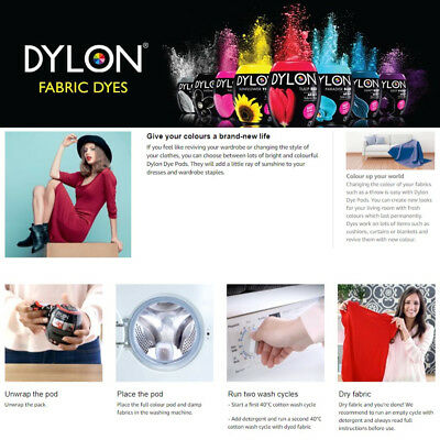 DYLON 2017 New Machine Dye 350g Pod In Various Shades For all kind of Fabrics