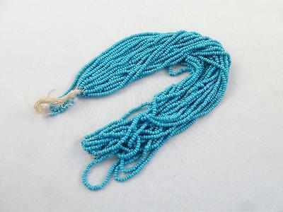 Antique/vintage Hank Of Opaline Blue Micro Seed Glass Beads