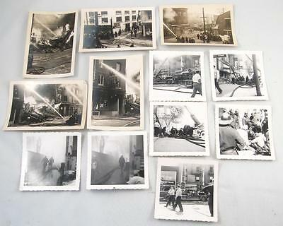 Lot Of 12 Vintage Photo Of Montreal Firefighter Firemen In Action