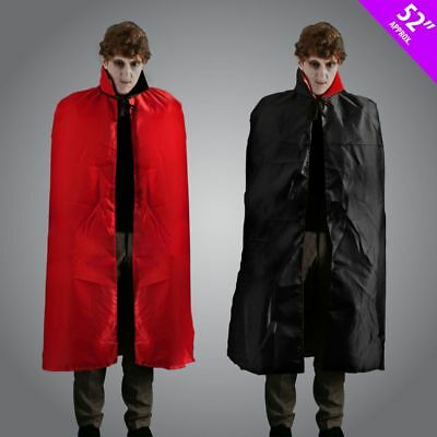 "52"" Men's Reversible Black Red Cape Dracula Devil Halloween Fancy Dress Stag Fun"