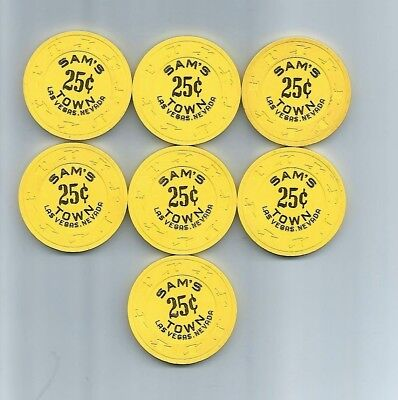 Sam's Town Casino - Las Vegas, NV -  LOT of 7 OBSOLETE CASINO CHIPS