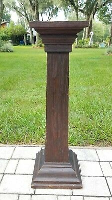 Antique Mission pedestal stand plant stand table 1900's wood antique 36""