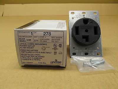 1 Nib Leviton 278 Receptacle Black Flush 30 Amp 3P 4 Wire 125-250V 30A