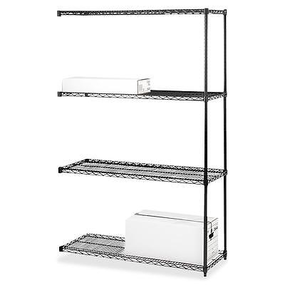 "Lorell Add-On Wire Shelving 4Shelves/2Posts 36""x18"" BK 69147"