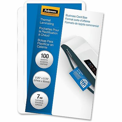 "Fellowes Laminated Business Pouches Glossy 2-1/4""x3-3/4"" 7mil 100/PK 52059"