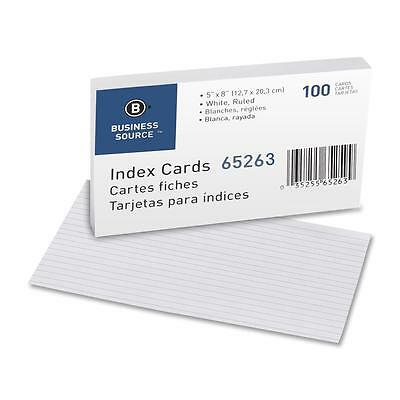 """Business Source Index Cards Ruled 72 lb. 5""""x8"""" 100/PK White 65263"""