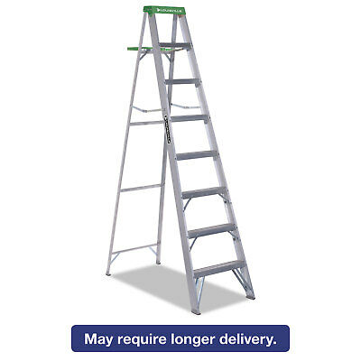 LOUISVILLE #428 Folding Aluminum Step Ladder 8 ft 7-Step Green AS4008
