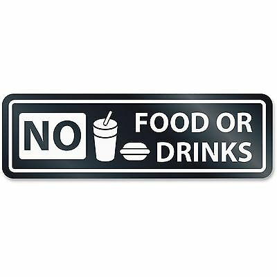"U.S. Stamp & Sign No Food Or Drinks Window Sign 2-1/2""x8-1/2"" White 9434"