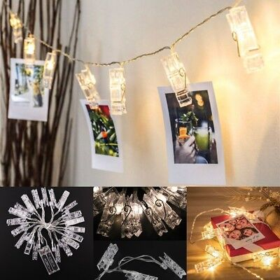 1.2M 10 LED Card Photo Clip Lights 2xAA Battery Party Wedding Home Decoration