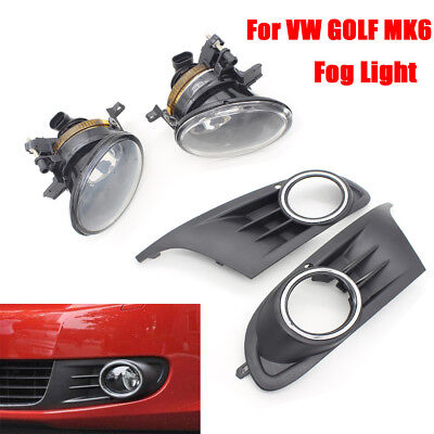 For Vw Golf Mk6 6 2009 2010 2011 Fog Lights Light Lamps & Grilles Kit New Boxed