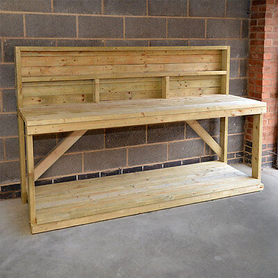 Wooden Work Bench With Back Panel - Heavy Duty - Hand Made In The UK