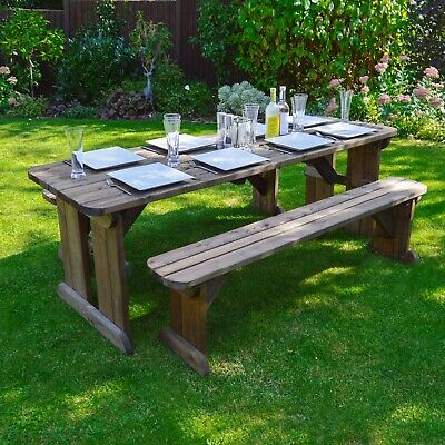 Fabulous Tinwell Rounded Picnic Table And Bench Set Wooden Outdoor Gamerscity Chair Design For Home Gamerscityorg