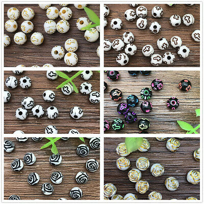 New 6mm 100pcs DIY Acrylic Round Pearl Spacer Loose Pattern Beads Jewelry Making