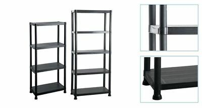 New 4 / 5 Tier Plastic Shelving Unit Storage Garage Racking Shelves Shed House