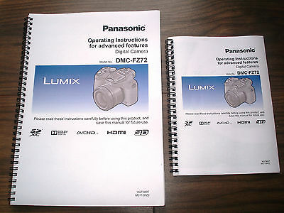 PRINTED Panasonic Lumix  FZ72  Full Colour User guide Instruction manual A4 orA5