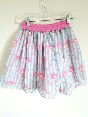 JAPAN LA Women's Small Medium My Melody Ice Cream Sweetie Chiffon Skirt Blue