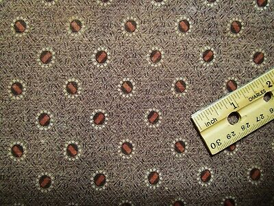 Antique Fabric 1800's Madder Calico 2 pcs Great for Dolls! Primitives