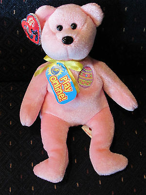 Ty Beanie Baby BB 2.0 ~ EGGS 2008 the Easter Bear Pink Stuffed Animal Toy